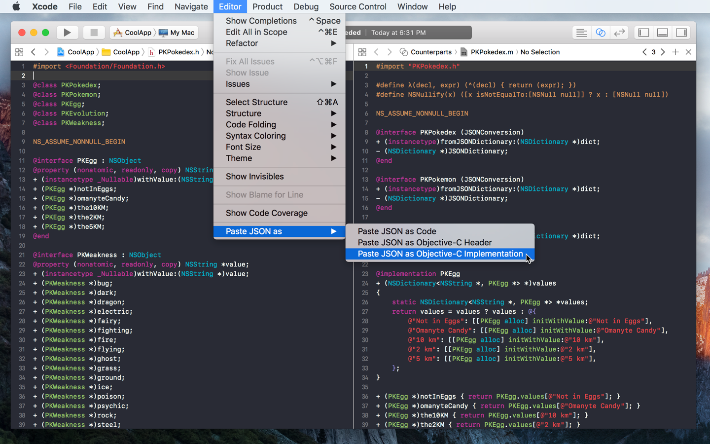 Paste JSON as code in Xcode and Visual Studio